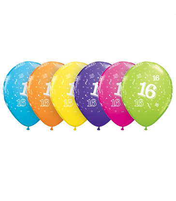 "Age 16 Pack of 6 11"" assorted coloured balloons"