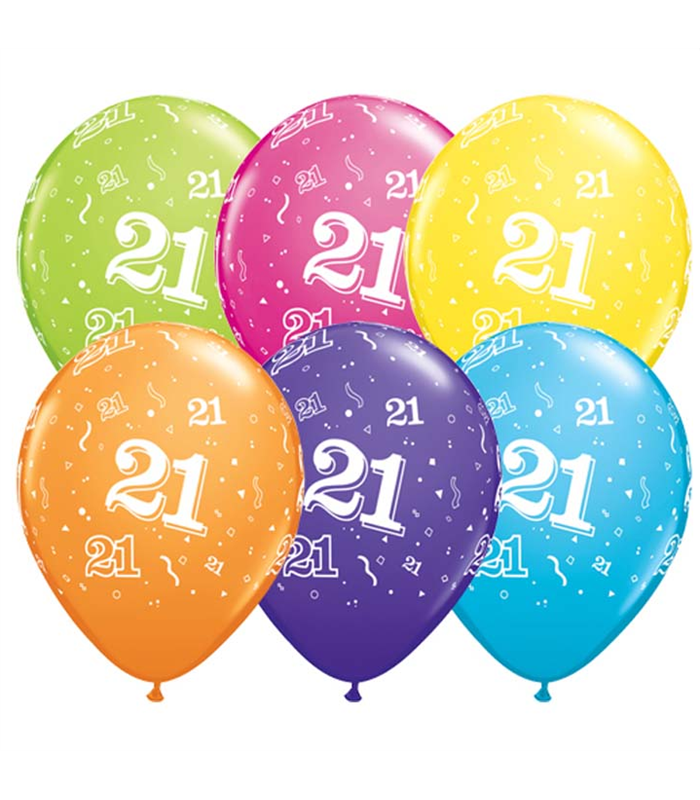 """Age 21 Pack of 6 11"""" assorted coloured balloons"""