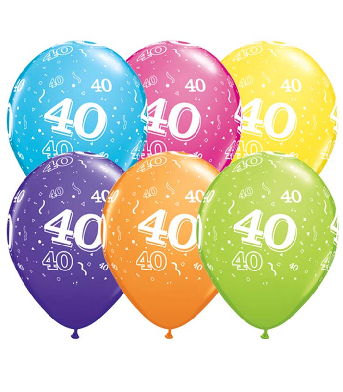 """Age 40 Pack of 6 11"""" assorted coloured balloons"""