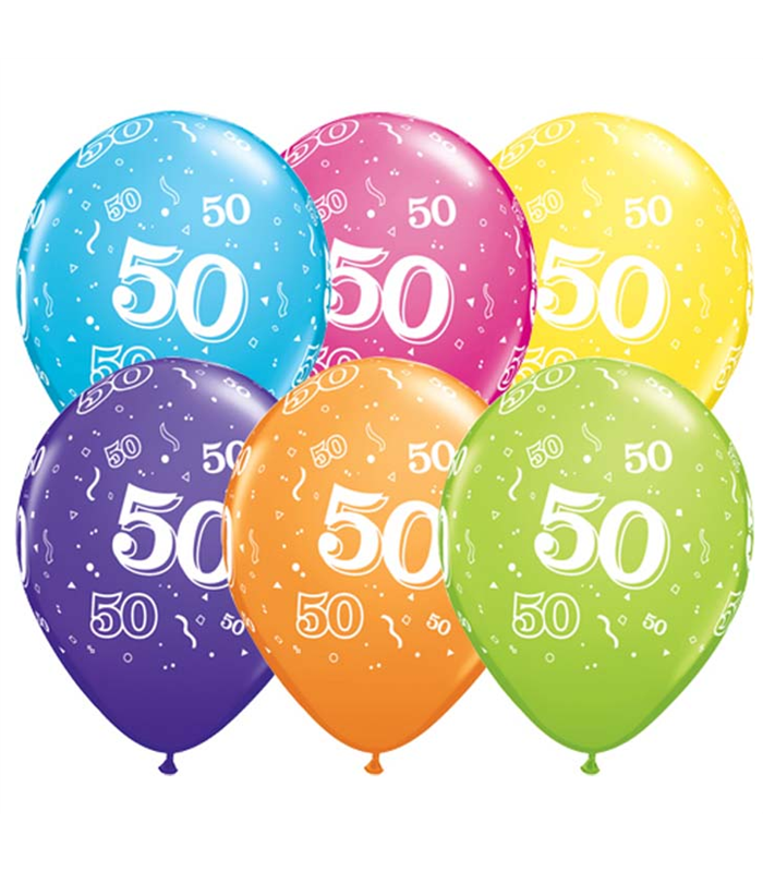 """Age 50 Pack of 6 11"""" assorted coloured balloons"""