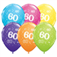 "Age 60 Pack of 6 11"" assorted coloured balloons"