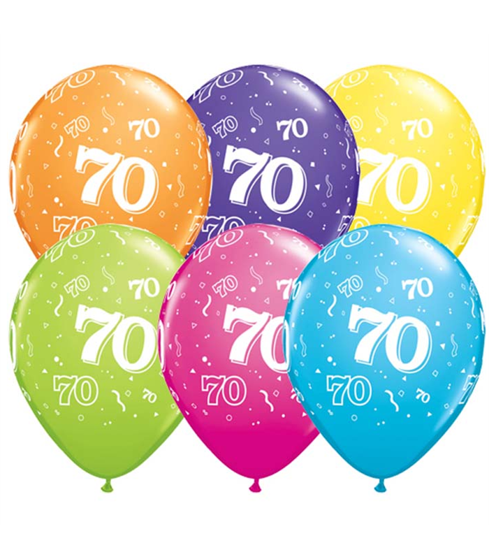 "Age 70 Pack of 6 11"" assorted coloured balloons"