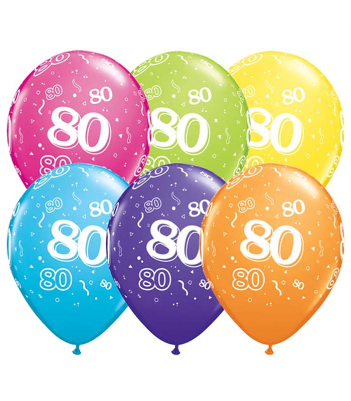 "Age 80 Pack of 6 11"" assorted coloured balloons"