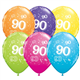 """Age 90 Pack of 6 11"""" assorted coloured balloons"""