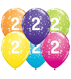 """Age 2 Pack of 6 11"""" assorted coloured balloons"""