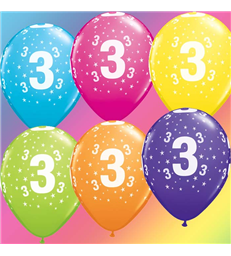 "Age 3 Pack of 6 11"" assorted coloured balloons"