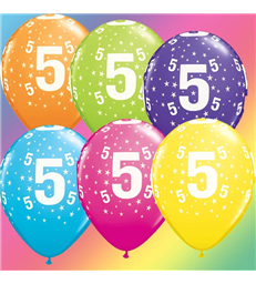 "Age 5 Pack of 6 11"" assorted coloured balloons"