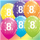 """Age 8 Pack of 6 11"""" assorted coloured balloons"""