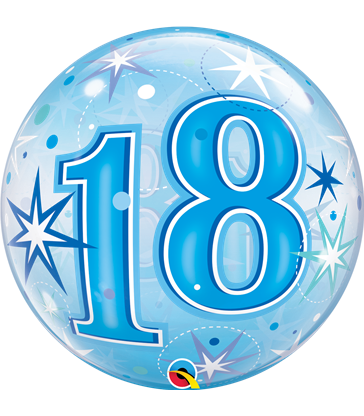 "18 Blue Starburst Sparkle 22"" balloon"