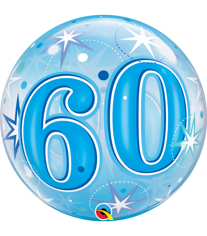 "60 Blue Starburst Sparkle 22"" balloon"