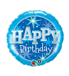 "Birthday Blue Sparkle 18"" balloon"