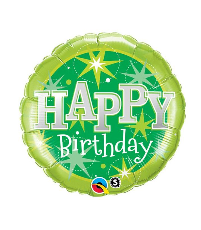 "Birthday Green Sparkle 18"" balloon"