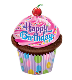 "Birthday Frosted Cupcake 35"" balloon"