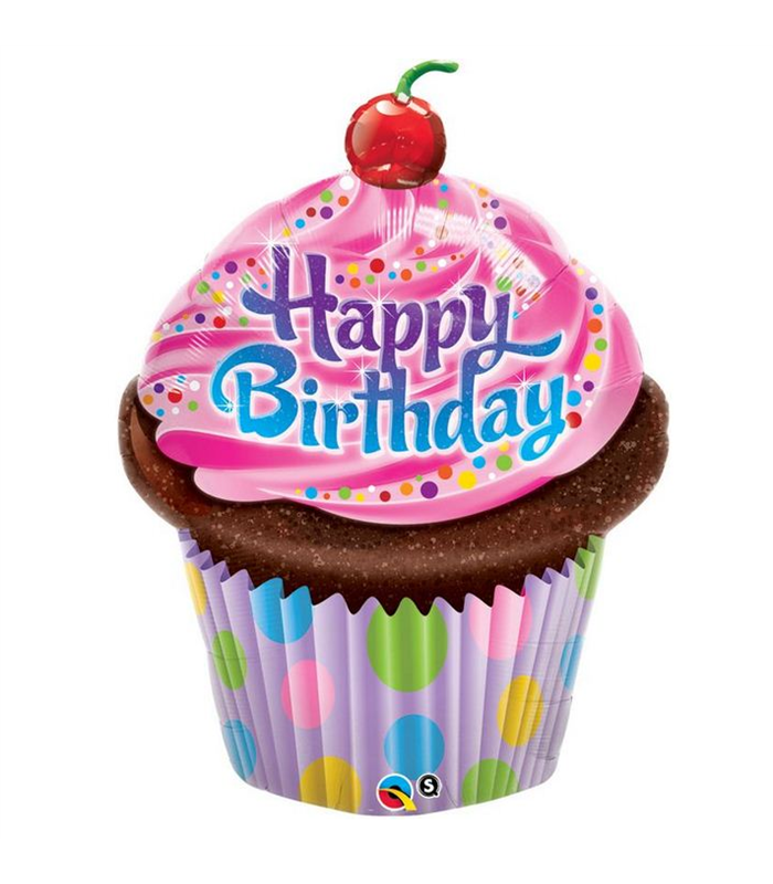 """Birthday Frosted Cupcake 35"""" balloon"""