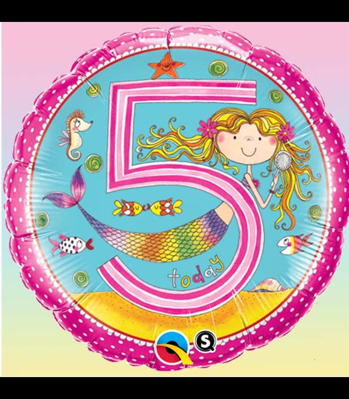 "Rachel Ellen - Age 5 Mermaid Polka Dots 18"" balloon"