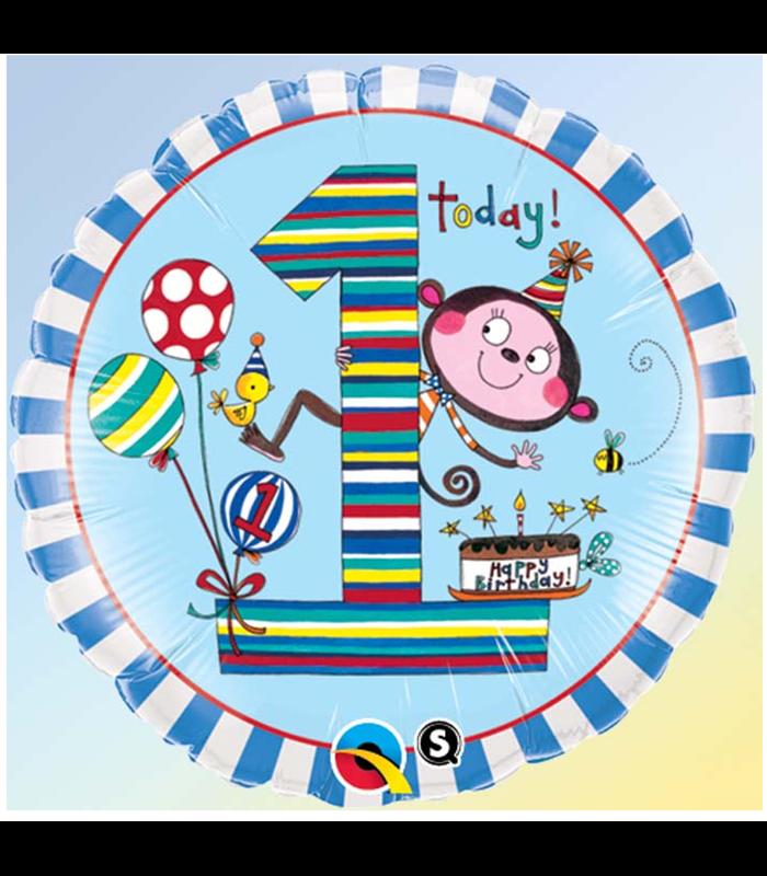 """Rachel Ellen - Age 1 Monkey Stripes 18"""" balloon"""