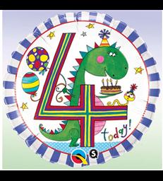 "Rachel Ellen - Age 4 Dinosaur Stripes 18"" balloon"