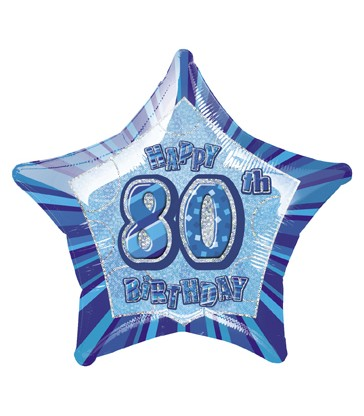 20'' PKG BLUE STAR PRISM 80 FOIL BALLOON