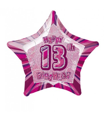 20'' PKG PINK STAR PRISM 13 FOIL BALLOON