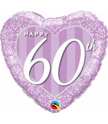 "Happy 60th Damask Heart 18"" balloon"