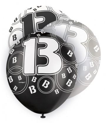 6 12'' BLACK GLITZ BALLOONS -13