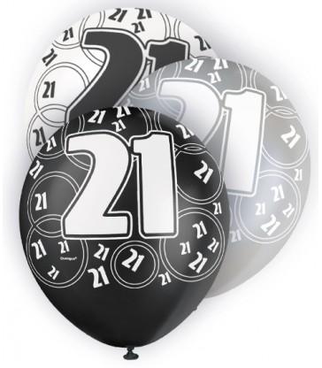 6 12'' BLACK GLITZ BALLOONS -21