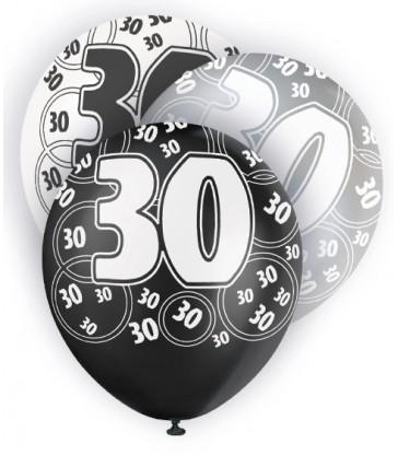 6 12'' BLACK GLITZ BALLOONS -30