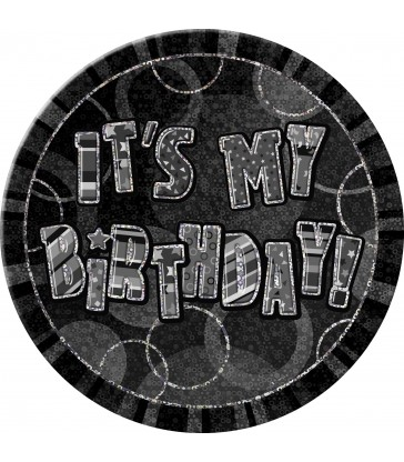 BLACK GLITZ 6'' BADGE-BIRTHDAY