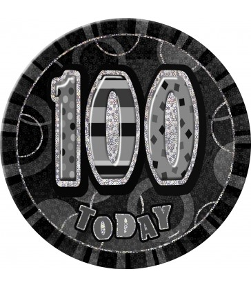BLACK GLITZ BIRTHDAY BADGE-100
