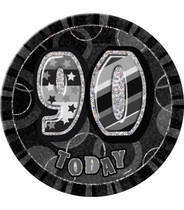 BLACK GLITZ BIRTHDAY BADGE-90