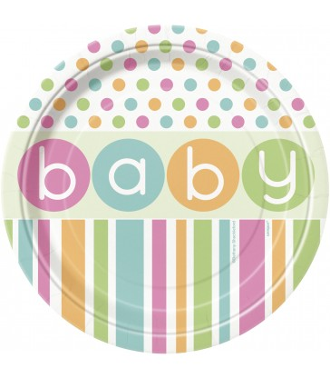 "8 PASTEL BABY SHOWER 7"" PLATES"