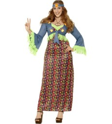 Curves Hippie Lady Costume, Multi-Coloured