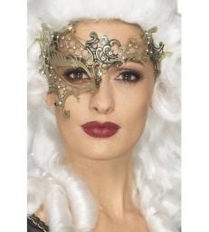 Deluxe Metal Filigree Half Eyemask, Gold