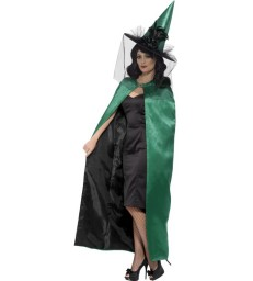 Deluxe Reversible Witch Cape, Green & Black